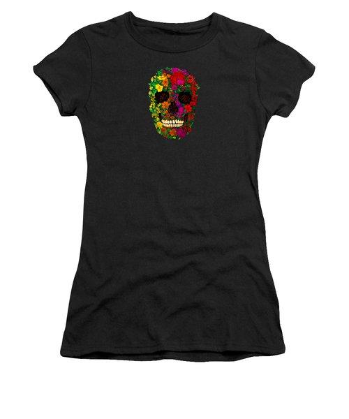 Rainbow Flowers Sugar Skull Women's T-Shirt (Athletic Fit)