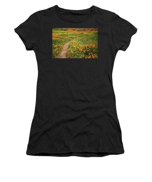 Rainbow Of Wildflowers Bloom Near Diamond Lake In California Women's T-Shirt (Athletic Fit)