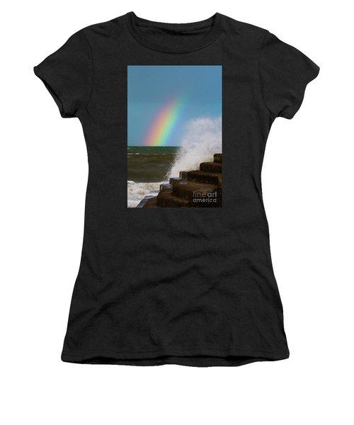 Rainbow Over The Crashing Waves Women's T-Shirt