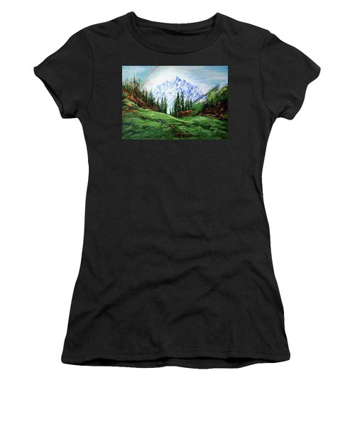 Rainbow Over The Snow Covered Mountain Women's T-Shirt