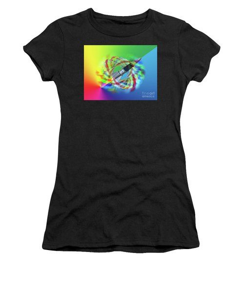 Women's T-Shirt featuring the photograph Rainbow Rocket Orbits by Rockin Docks Deluxephotos