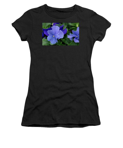 Raindrops On Purple Pansy Women's T-Shirt