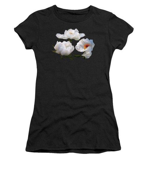 Raindrops On White Tree Peonies Women's T-Shirt