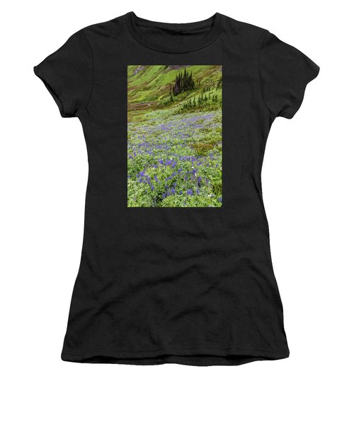 Women's T-Shirt featuring the photograph Rainier Alpine Wildflowers by Pierre Leclerc Photography