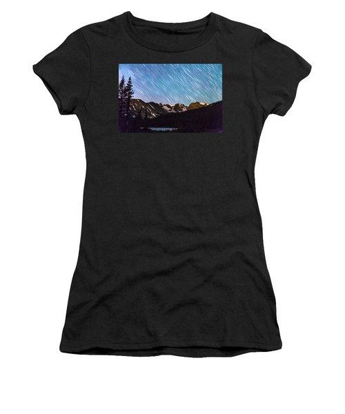 Raining Stars Over Longs Lake And The Indian Peaks Women's T-Shirt
