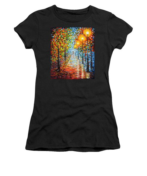Women's T-Shirt (Athletic Fit) featuring the painting Rainy Autumn Evening In The Park Acrylic Palette Knife Painting by Georgeta Blanaru