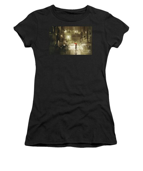 Women's T-Shirt featuring the painting Rainy Night by Tithi Luadthong