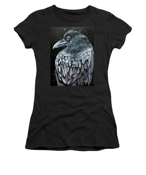 Raven In Snow Women's T-Shirt
