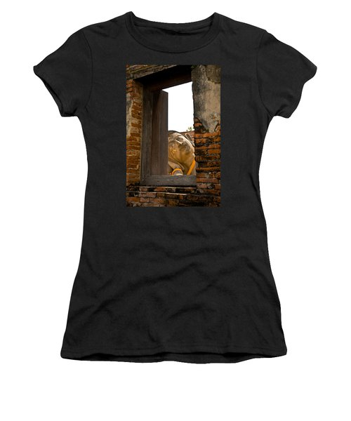 Reclining Buddha View Through A Window Women's T-Shirt (Athletic Fit)
