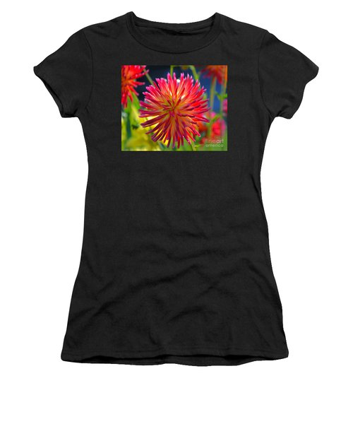 Red And Yellow Dahlia Women's T-Shirt (Athletic Fit)