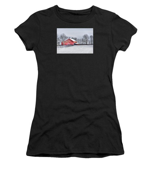Red Barn Winter Women's T-Shirt