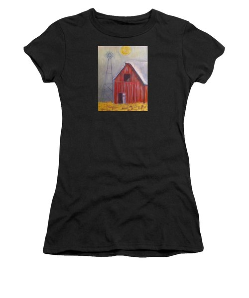 Red Barn With Windmill Women's T-Shirt (Athletic Fit)