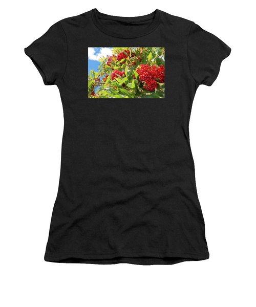 Red Berries, Blue Skies Women's T-Shirt