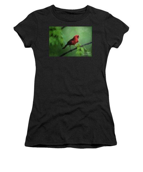 Red Bird On A Hot Day Women's T-Shirt (Junior Cut) by Lois Bryan