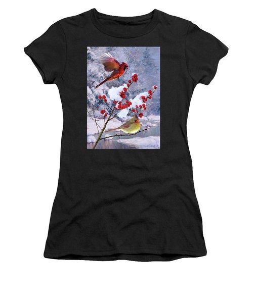 Red Birds Of Christmas Women's T-Shirt