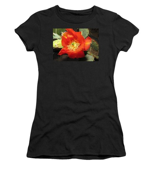 Red Bloom 1 - Prickly Pear Cactus Women's T-Shirt (Athletic Fit)