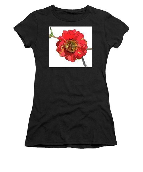 Red Blossom Women's T-Shirt (Athletic Fit)
