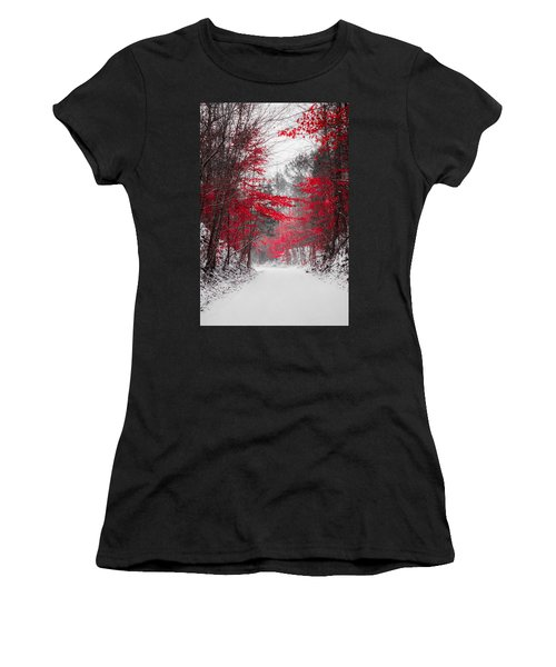 Red Blossoms  Women's T-Shirt (Athletic Fit)