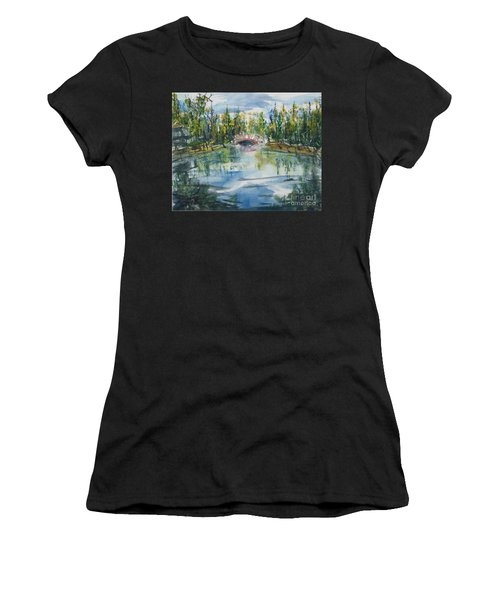 Women's T-Shirt featuring the painting Red Bridge On Lake In The Ozarks by Reed Novotny