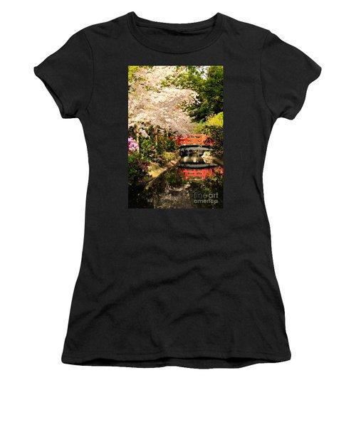 Red Bridge Reflection Women's T-Shirt (Junior Cut) by James Eddy
