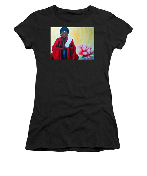 Red Buddha Lotus Women's T-Shirt (Athletic Fit)