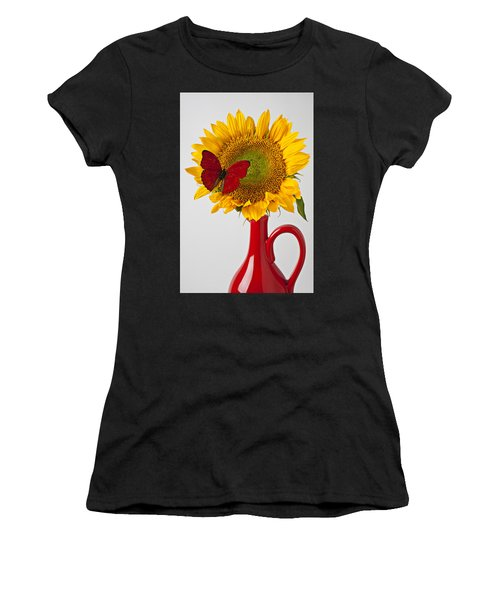 Red Butterfly On Sunflower On Red Pitcher Women's T-Shirt
