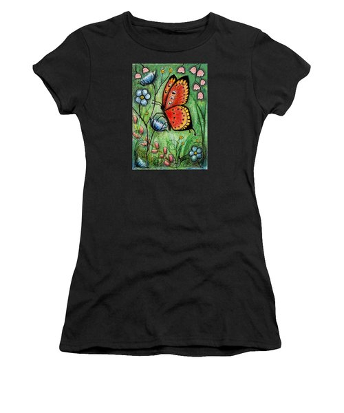 Red Butterfly Women's T-Shirt (Athletic Fit)