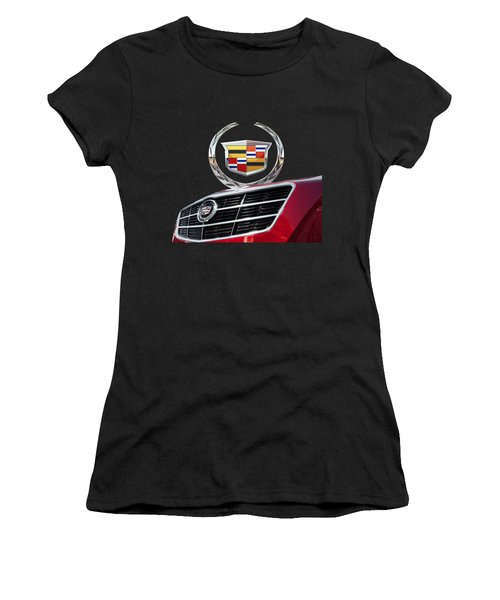 Red Cadillac C T S - Front Grill Ornament And 3d Badge On Black Women's T-Shirt (Junior Cut) by Serge Averbukh