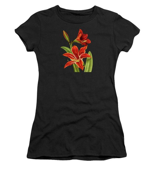 Red Christmas Lily Women's T-Shirt (Athletic Fit)
