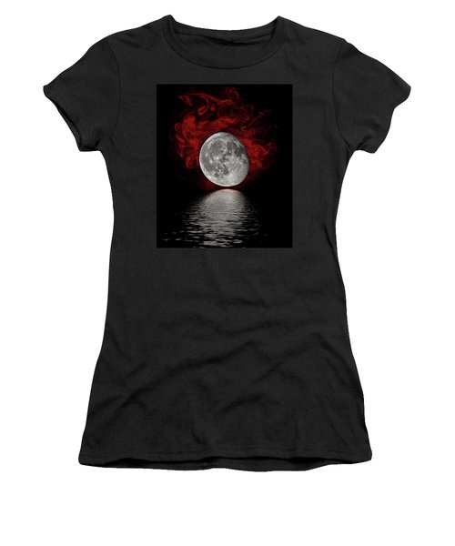 Red Cloud With Moon Over Water Women's T-Shirt (Athletic Fit)
