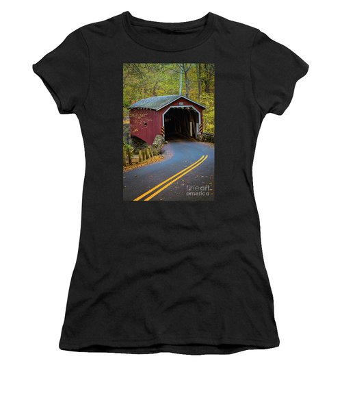 Red Covered Bridge In Lancaster County Park Women's T-Shirt