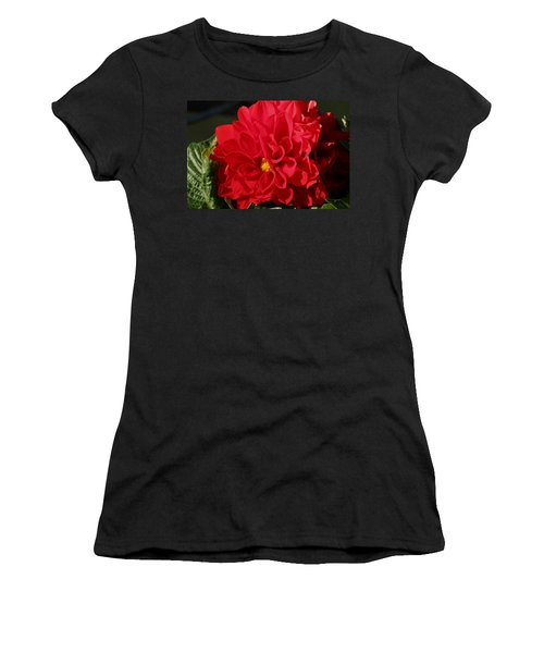 Women's T-Shirt (Athletic Fit) featuring the photograph Red Dahlia Macro by Sheila Brown