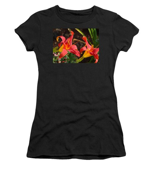 Red Daylilies Women's T-Shirt (Athletic Fit)