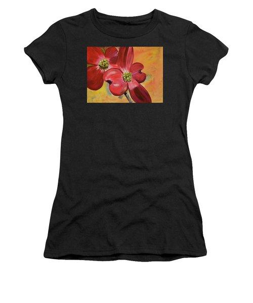 Red Dogwood - Canvas Wine Art Women's T-Shirt