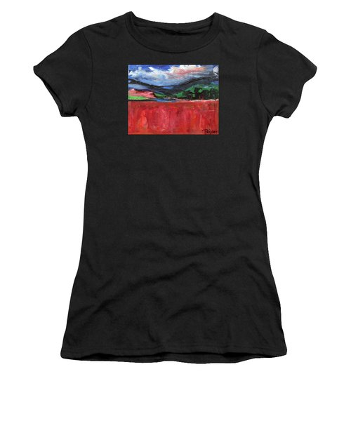 Red Field Landscape Women's T-Shirt (Athletic Fit)