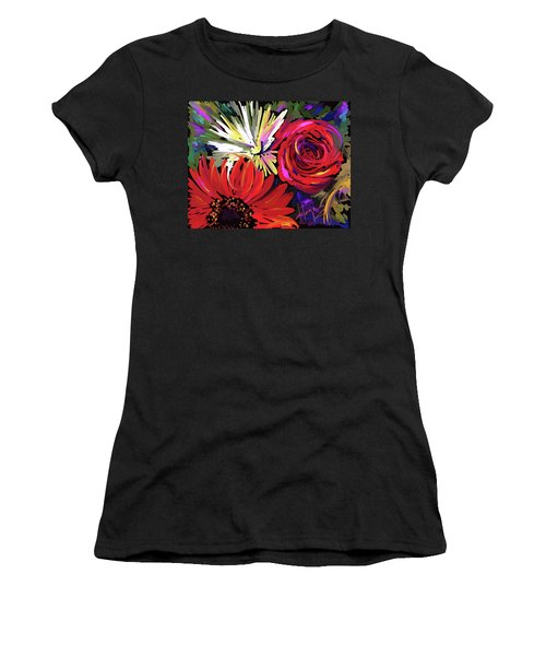 Women's T-Shirt (Junior Cut) featuring the painting Red Flowers by DC Langer