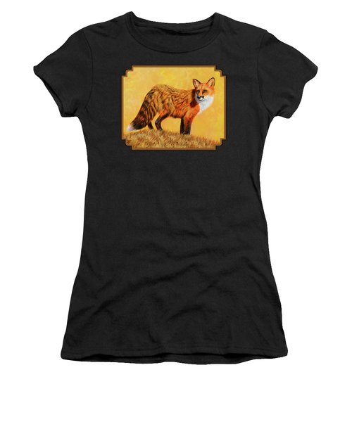 Red Fox Painting - Looking Back Women's T-Shirt