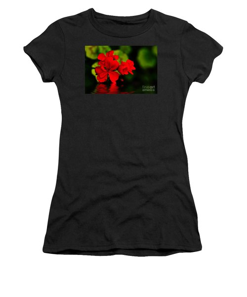 Red Geranium On Water Women's T-Shirt