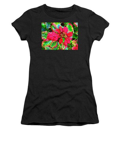 Red Hawaiian Poinsettia Women's T-Shirt