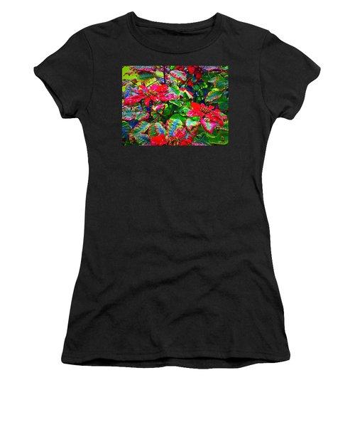 Red Hawaiian Poinsettias In Puna Women's T-Shirt