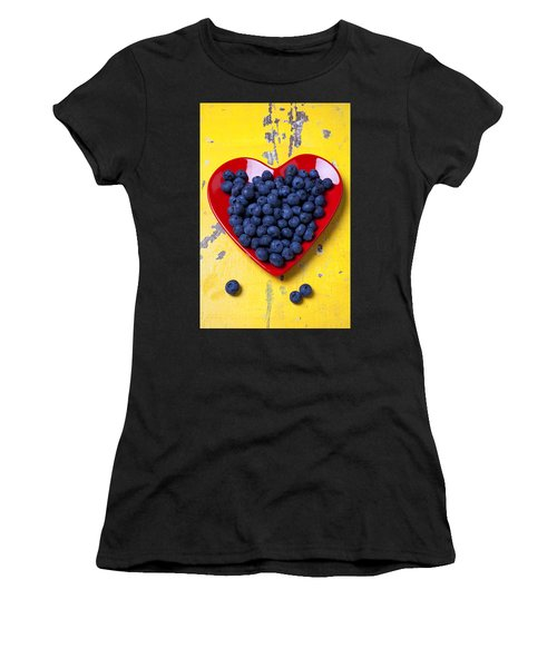 Red Heart Plate With Blueberries Women's T-Shirt