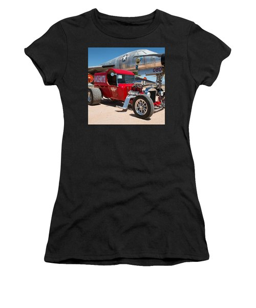 Red Hot Rod Next To Vintage Airplane  Women's T-Shirt