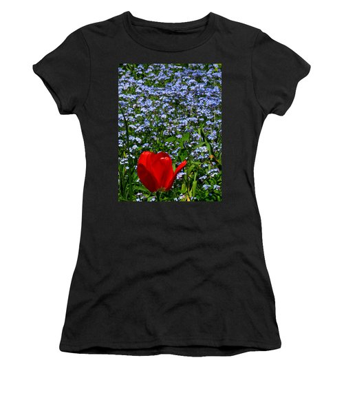 Red In Blue2 Women's T-Shirt (Athletic Fit)