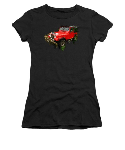 Red Jeep Off Road Acrylic Painting Women's T-Shirt