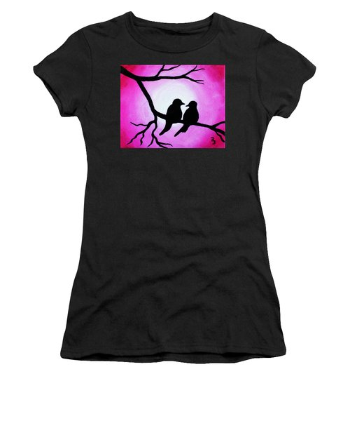 Red Love Birds Silhouette Women's T-Shirt (Athletic Fit)