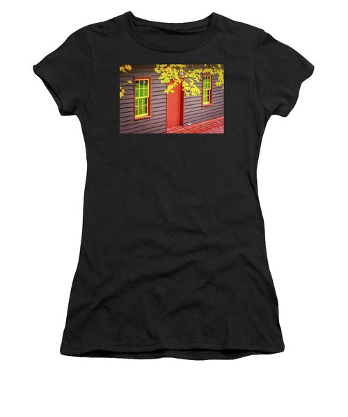 Red Mill Door In Fall Women's T-Shirt (Athletic Fit)