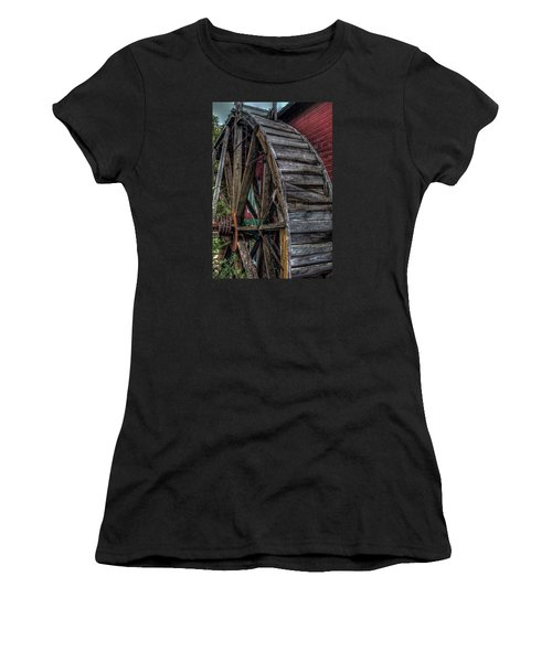 Women's T-Shirt (Junior Cut) featuring the photograph Red Mill Wheel 2007 by Trey Foerster