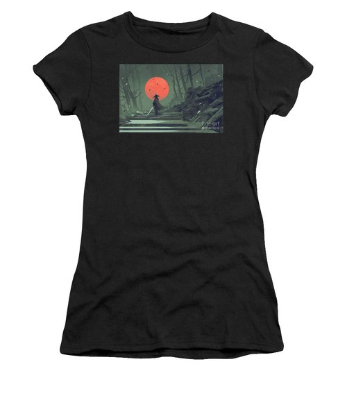 Women's T-Shirt featuring the painting Red Moon Night by Tithi Luadthong
