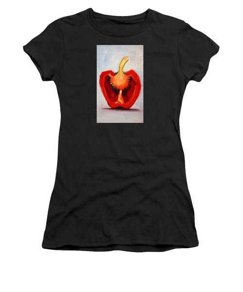 Red Pepper Sliced Women's T-Shirt (Athletic Fit)