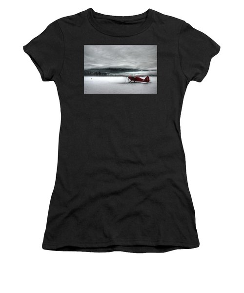 Women's T-Shirt featuring the photograph Red Plane In A Monochrome World by Wayne King